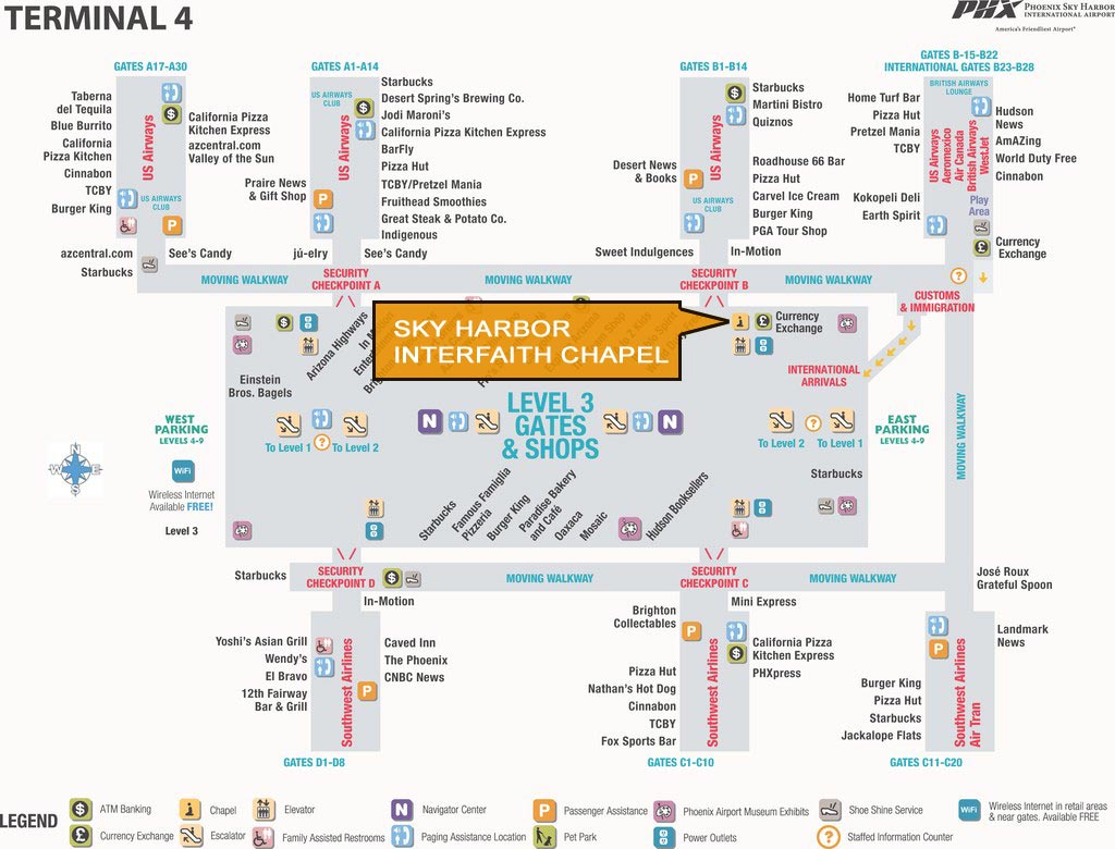 Phoenix Airport Terminal 4 Map How to Find the Chapel – Sky Harbor Interfaith Chaplaincy